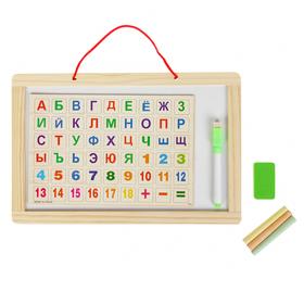 Доска двусторонняя, малая, в наборе магниты с алфавитом, маркер, мелки, губка