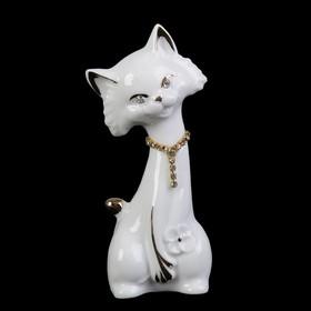 """Сувенир керамика """"Белый кот"""" стразы 12,5х4,5х4,3 см"""