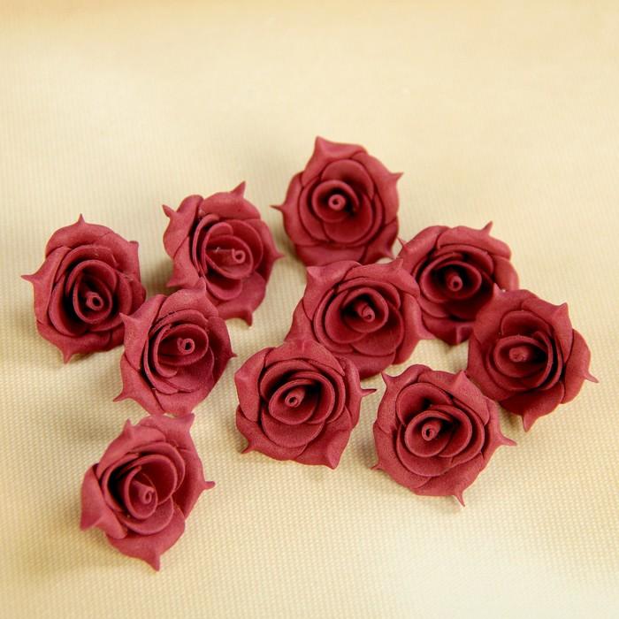 Бант-цветок свадебный для  декора  из фоамирана ручной работы диаметр 3 см (10 шт) бордо