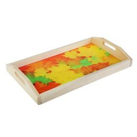 Поднос для завтрака 'Кленовые листья', стеклянная поверхность, 50х7х29,5см Ош