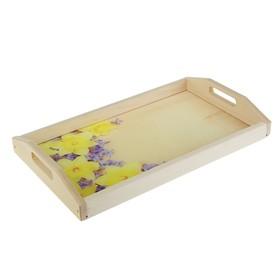 Поднос для завтрака 'Нарциссы', стеклянная поверхность, 50х7х29,5см Ош