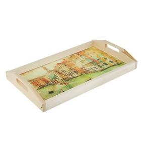 Поднос для завтрака 'Венеция', стеклянная поверхность, 50х7х29,5см Ош