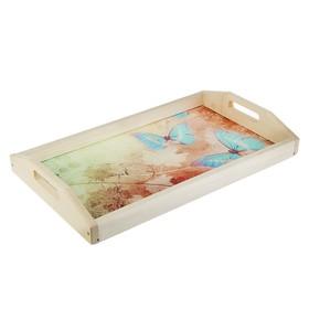 Поднос для завтрака 'Бабочки', стеклянная поверхность, 50х7х29,5см Ош