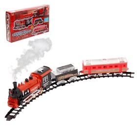 Железная дорога 'Классический поезд', свет и звук, с дымом, работает от батареек Ош