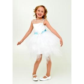 Платье нарядное  детское + брошь, рост 104 см, цвет белый 1Н15-1