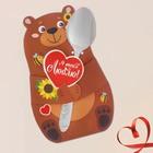 """Ложечка сувенирная в фигруной открытке """"Я тебя люблю"""" 19,5 см"""