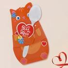 """Ложечка сувенирная в фигруной открытке """"Для тебя. Котенок"""" 19,5 см"""