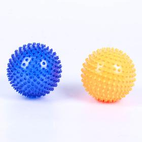 Набор мячей-ёжиков «МалышОК!», 2 шт., диаметр 120 мм, цвет оранжевый+синий, в подарочной упаковке