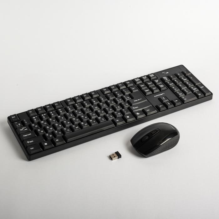 Набор клавиатура и мышь CROWN CMMK-954W,104 клавиши,  мышь 4 кнопки, беспроводной, черный