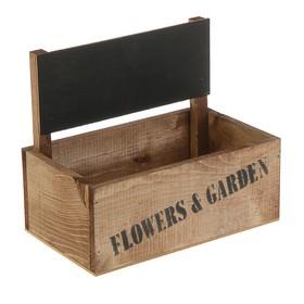 Кашпо флористическое с грифельной табличкой, венге, 24,5 x 14,5 x 20 см