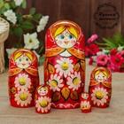 Матрёшка «Ромашки», красный платок, 5 кукольная, 17 см