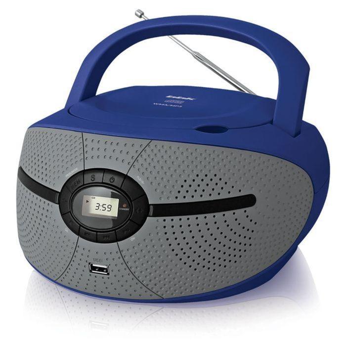 Аудиомагнитола BBK BX195U, 2 Вт, CD, CDRW, MP3, FM(dig), USB, голубая/серая