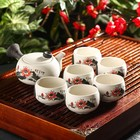 """Набор для чайной церемонии """"Нежный цветок"""", 7 предметов: чайник 180 мл, 6 чашек 70 мл"""