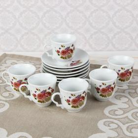 """Сервиз кофейный """"Утонченность"""", 12 предметов: чашка d=6 см, блюдце d=12 см"""