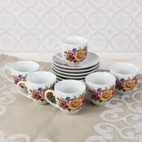 """Сервиз кофейный """"Красочный букет"""", 12 предметов: чашка d=6 см, блюдце d=12 см"""