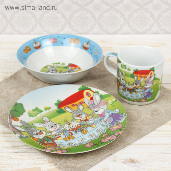 """Набор детской посуды """"Крольчата на обеде"""", 3 предмета: кружка 220 мл, миска 400 мл, тарелка"""
