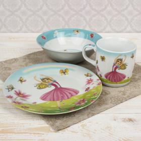 """Набор детской посуды """"Мечтательница"""", 3 предмета: кружка 230 мл, миска 400 мл, тарелка 18 см"""