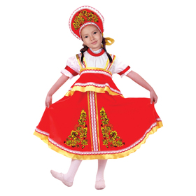"""Карнавальный русский костюм """"Хохлома, цветы"""", платье-сарафан, кокошник, цвет красный, р-р 28, рост 98-104 см"""
