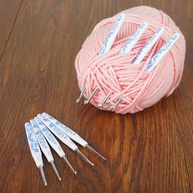 Набор крючков для вязания, d=2-6мм, 9шт, орнамент гжель
