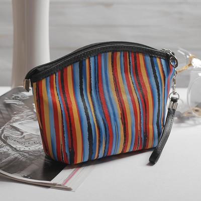Косметичка-сумочка  Кристиана, 24*5,5*15, отд на молнии, с ручкой, красно/синий