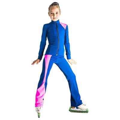 Брюки для фигурного катания Ноктюрн, цвет васильковый/розовый, размер 38-40