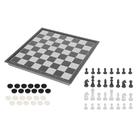 Игра настольная 2 в 1: шахматы + шашки, серо-белое поле 25 × 25 см