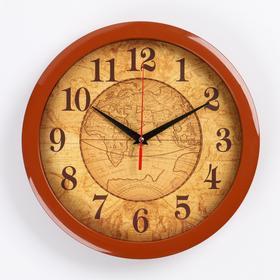 """Часы настенные круглые """"Карта"""", коричневый обод, 28х28 см"""