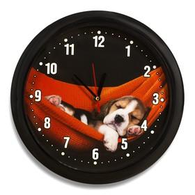 """Часы настенные круглые """"Щеночек"""", чёрный обод, 28х28 см, микс"""
