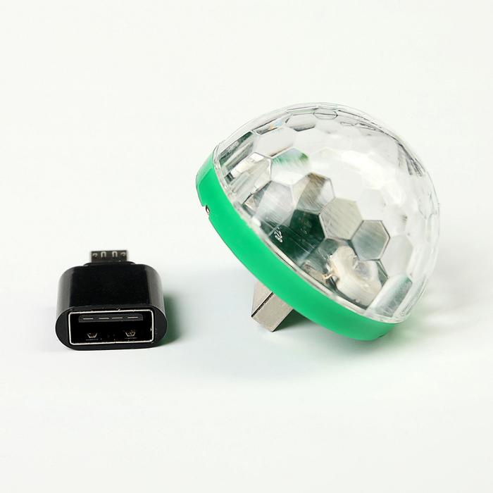 Световой прибор хрустальный шар USB - MicroUSB для Android, реагирует на звук