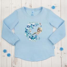 """Джемпер """"Эльза"""" Холодное сердце, голубой, рост 98-104 (30) см, 3-4 года, флис"""
