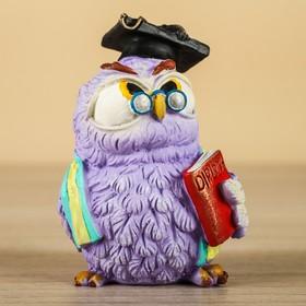 """Сувенир """"Совенок с дипломом в колпаке"""" фиолетовый, 7х7х9см"""