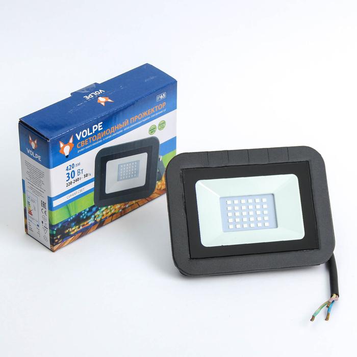 Прожектор светодиодный Volpe ULF-Q511, 30 Вт, 220 В, IP65, синий свет