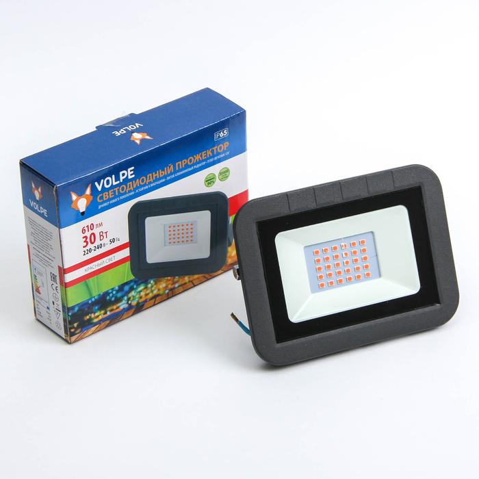 Прожектор светодиодный Volpe ULF-Q511, 30 Вт, 220 В, IP65, красный свет