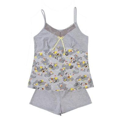 Пижама женская (майка, шорты) Симона цвет серый, р-р 42