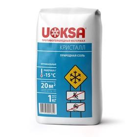 Реагент антигололёдный 'UOKSA КрИстал', 1 кг, работает при -15°C, в пакете Ош