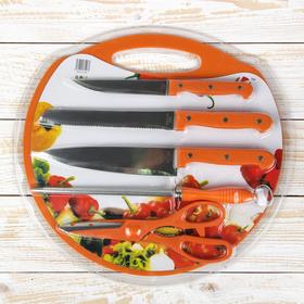 Набор 6 предметов: 3 ножа 12,5/16,5/17,5 см, мусат, ножницы, доска 33х31,5 см , цвета МИКС