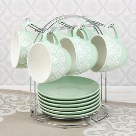 """Набор чайный """"Романтика"""", 12 предметов: 6 чашек 210 мл, 6 блюдец, цвет зеленый"""