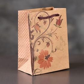 """Пакет крафт """"Осенний цветок"""", 8 х 5 х 11 см"""