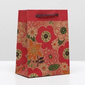 """Пакет крафт """"Цветы"""", 8 х 5 х 11 см"""