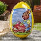 """Шкатулка-яйцо """"Пасха. Зайчик с тележкой яиц"""""""