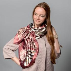 """Комплект """"Сафари"""" (платок женский 90*90 см, кольцо), цвет бордовый/коричневый"""