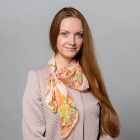"""Комплект """"Бабочки"""" (платок женский 70*70 см, кольцо), цвет оранжевый"""