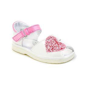 Туфли летние малодетские праздничные арт. 2094, цвет белый/розовый, размер 23 (14,5 см)