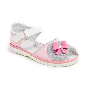 Туфли летние дошкольные праздничные арт. 3831, цвет розовый/серебристый, размер 28 (17,5 см)