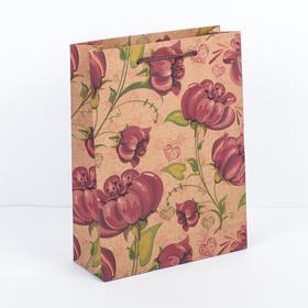 """Пакет крафт """"Яркий цветок"""", 16 х 6 х 21 см"""