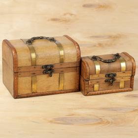 """Шкатулка сундучок """"Песочный с золотом"""" набор 2 шт 8,5х14х9 см 13х18х12,5 см"""