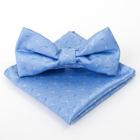 Набор детский: галстук-бабочка 10х5, платок 18х18, голубой, п/э