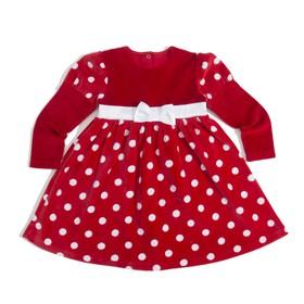 Платье для девочки, рост 98 см, цвет красный/горох Т009