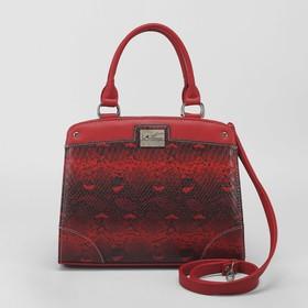 Сумка жен 826, 32*10*26, отдел на молнии, н/карман, длин ремень, анаконда красный