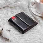 Кошелек жен 03-02-01, 10,2*3*9,5, 2 отд, д/кред, д/монет, карман д/sim карты, чёрный